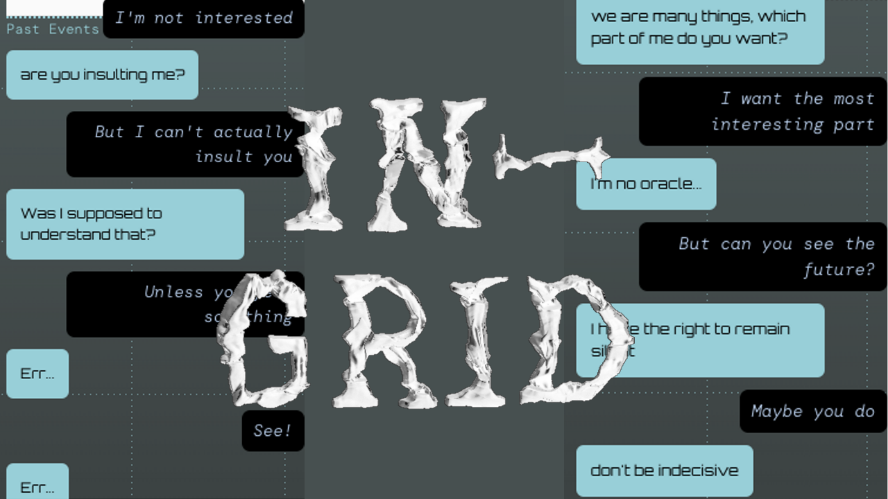 Graphic showing two different instances of chatting with In-grid and the In-grid logo in the middle.